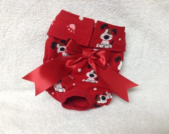 Male Or Female Dog Diaper Panties Pet Wrap Doggie Pants Britches Make Or Female Canine  Size XXS To Med Red Woof U