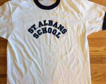 Vintage 1980s 80s Ringer St. Albans school ' logo Hanes size Large