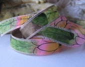 Hand Painted 100% Silk Ribbon Wrap/Painted Pink Daisy Design/Silk Fairy Ribbon/Hand Dyed with Ink Design/DIY Bracelet/Jewelry Supply