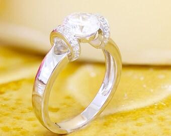 GIA H-VS2 14k white gold round cut diamond engagement ring, prong set, anniversary, wedding, propose, bridal, promise, 1.15ct