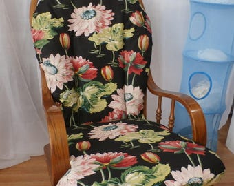 Nursery Glider Rocker SlipCover -Hawaiian Large print/ Black Background  Covers for your cushions