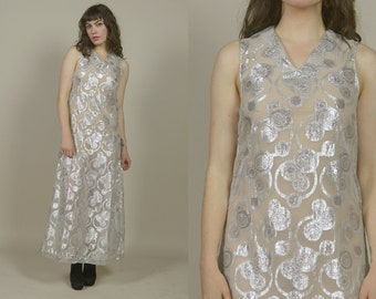60s Sheer Maxi Dress Metallic Silver Sparkle Lurex 1960s Psychedelic Geometric Circle Swirls Sleeveless Mod Party Dress  / Size M Medium