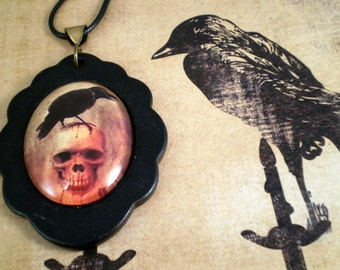 Raven Necklace, Goth Jewelry, Gift for Her, Raven Crow Necklace, Handmade Necklace, Raven Crow Necklace