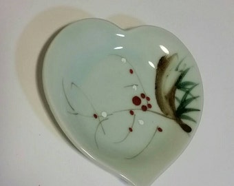 Heart shaped decorative dish, love ring dish, engagement and wedding gifts, vintage hearts, Valentine gift