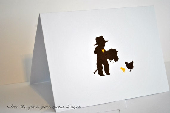 Cowboy Thank you Note Cards cowboy cards cowboy party cowboy birthday cards