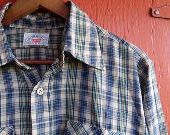 90s Blue Plaid Levi's Cotton Western Button Up Casual Work Hippie Lumberjack Cowboy Boyfriend Shirt L