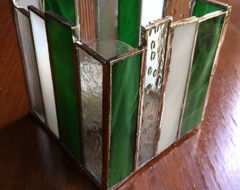 Stained Glass Candle Holder, Green, White, Clear