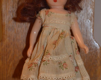 Vintage Nancy Ann Storybook Doll, Auburn Hair, Movable Arms, legs, eyes, Bisque, 1940's