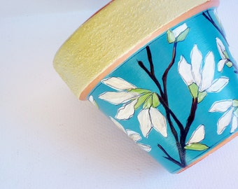 Hand Painted Flower Pot- 4 Inch Terracotta, Succulent Planter- Ready to Ship
