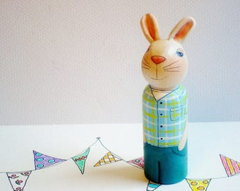 Easter Bunny Hand Painted Peg Doll, Art Doll- Ready to Ship
