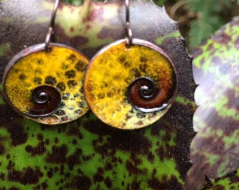 Copper Enamel Earring /with Cloisone Spiral/Nature Art/Costa Rica Inspiration/Organic/