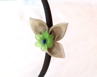 Unique Folded Fabric Headband with Green and Blue Flower Wearable Fiber Art