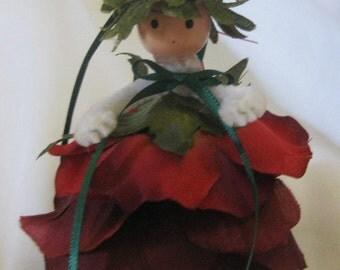 Flower Girl Ornament Handmade Rosie Red