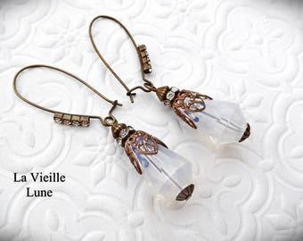 Opaline Victorian Earrings, Drop Earrings, Gothic Earrings in Antique Brass,  Victorian Jewelry, Gothic Jewelry
