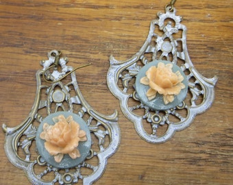 Filigree Earrings Shabby Style Patina Painted Earrings with a Pretty Peach Rose Large Lightweight Earrings Light Blue Patina Painted BOHO