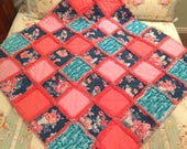 Caden Lane Charleigh Navy floral Coral Pink and Teal Rag Quilt