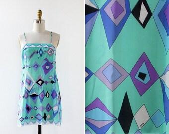Emilio Pucci Nightie XS/S • Vintage Mini Dress • Geometric Dress • 60s Mini Dress • Vintage Slip Dress • Vintage Nightgown  | D942