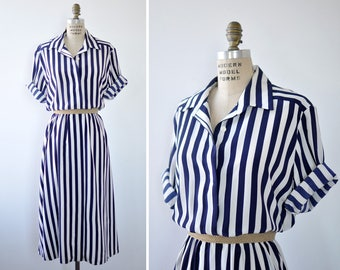 Stripe Dress L • 80s Dress • Blue and White Dress • Vintage Shirt Dress • Button Up Dress • Preppy Dress • Midi Dress | D1255