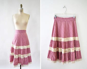 Prairie Skirt S • 70s Skirt • Pink Floral Skirt • Lace Trim Ruffle Skirt • Cotton Skirt • Floral Midi Skirt • High Waisted Skirt  | SK800