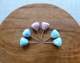 Glazed Diamond Gem Stud Earrings