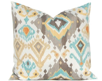 One Outdoor Pillow Cover - Taupe and Aqua Ikat - Patio Seating Cushion Cover - Designer 100% Polyester Fabric - Choose from Four Colors
