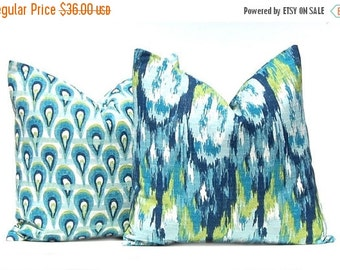 15% Off Sale Decorative Pillow Covers, Turquoise Pillow Covers, Throw Pillow Covers, Pair of Two 18 x 18, Burlap Pillows, Cushion Covers, Fr