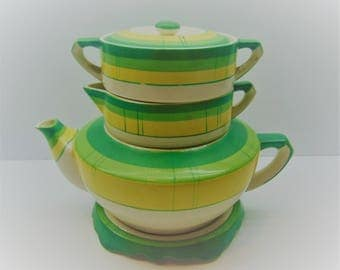 Vintage Stacked Teapot with Trivet