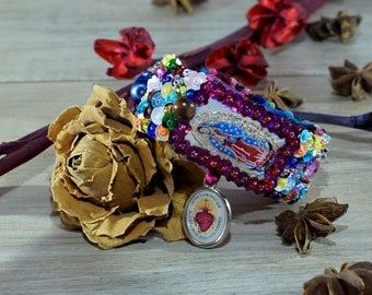 Lady of Guadalupe scapular sequined embroidered bracelet