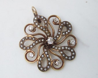 Antique 14k Solid Yellow Gold Pendant with Seed Pearls and European Cut Diamonds