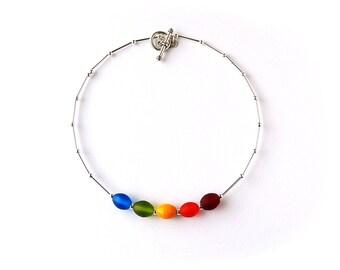 Rainbow Bead Choker Necklace, Simple Rainbow Necklace, Gay Pride, Rainbow Jewellery, Bead Jewellery, LGBT, UK, 1065