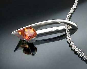 mystic topaz pendant, mystic topaz necklace, modern jewelry design, sunrise mystic topaz, Argentium silver, artisan jewelry, for her - 3458