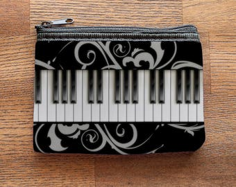Piano Keyboard Neoprene Coin Purse or Zipper Pouch