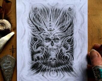 Light Skull 333 /// Graphite Original Art