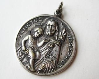 Vintage 40s St. Joseph Catholic Medal Necklace Pendant Charm