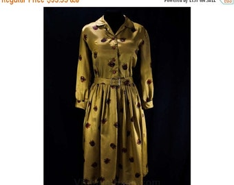 Size 8 Shirtwaist Dress - 1950s Golden Yellow Satin - Heraldry Crests Novelty Print - Medium 50s Dress - Cuffed Sleeves - Waist 27 - 40875