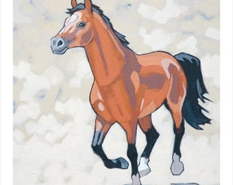 "Horse Art Print, 8"" x 8"" - Bay"