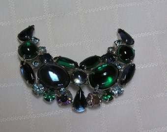 Weiss  crescent blue green cabochons and rhinestone brooch