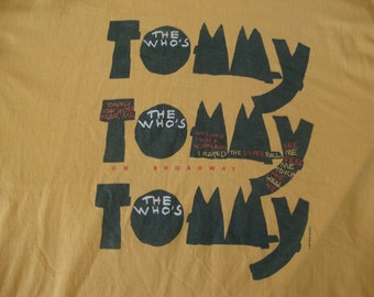 Vintage THE WHO Tommy 90's 1992 Broadway Musical Classic Rock Concert Tour Pinball Wizard 1990's punk rock T Shirt XL