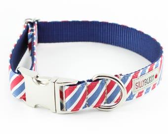 Red White Blue Stripes Dog Collar