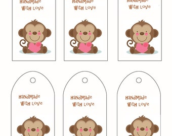Printable Gift Tags Hand made with Love Labels PDF Double sided with care Intrustions on backside