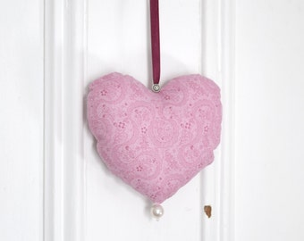 Fabric heart to hang Pink Ribbon Ornament Door hanger Victorian Decoration Valentine Day Gift for women Birthday Shower Girl