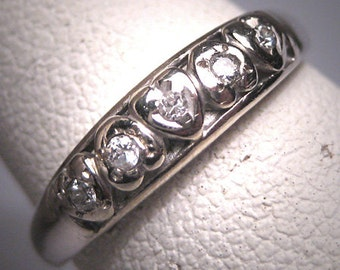 Antique Diamond Wedding Band Ring Heart Vintage Art Deco 14K White Gold
