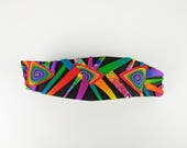 Rainbow Crazy Stripe Barrette, Large Freeform in Black and Rainbow Polymer Clay