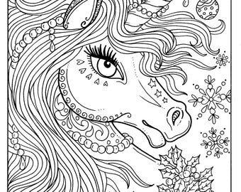 unicorn christmas coloring page adult color book art fantasy digital - Unicorn Coloring Pages For Adults