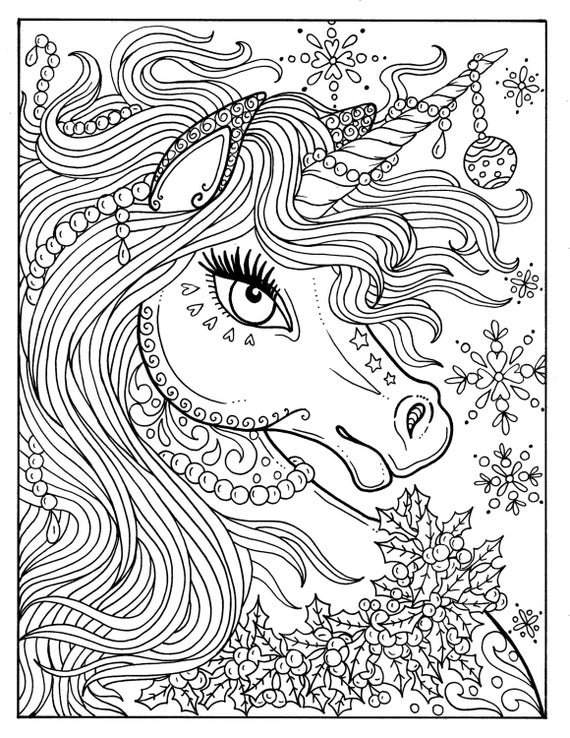 unicorn christmas coloring page adult color book art fantasy digital - Fantasy Coloring Pages Adults