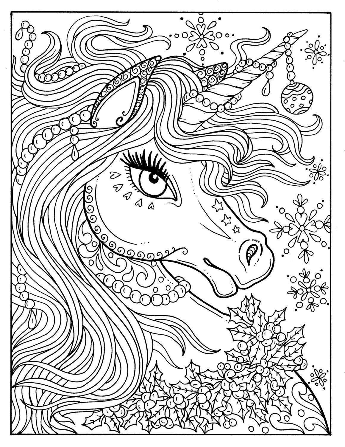 unicorn christmas coloring page color book art fantasy