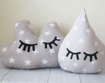 Kids pillow , gray pillow , cloud pillow , drop pillows , nursery pillow , baby pillow , nursery decoration , crib pillow , pillow set
