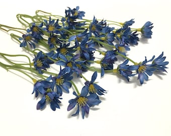 One Lot Royal Blue Wild Daisy Stems - Flower Crown, Halo, Wildflowers, Artificial Flowers, Silk Flowers, Wedding Flowers, Hair Accessory