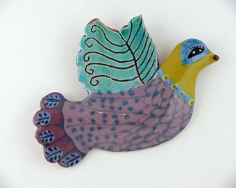 Ceramic Wall Bird, Clay Bird, Ceramic Art, Hand Made by Cathy Kiffney