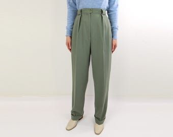 VINTAGE Green Trousers Wool Pants High Waist Cuffed 1980s